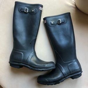 Hunter Original Tall Matte Black Rain Boots Sz. 11